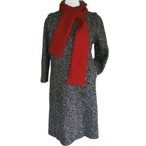 Long Gray Tweed Coat Red Scarf Wool Blend 11 12